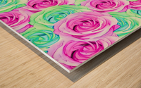 blooming rose texture pattern abstract background in pink and green Wood print