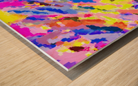 psychedelic geometric square pixel pattern abstract in pink yellow blue Wood print