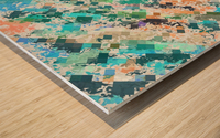 psychedelic geometric square pixel pattern abstract in green blue purple orange Wood print