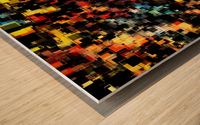 psychedelic geometric pixel square pattern abstract background in red orange blue yellow black Wood print