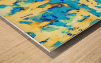 splash painting texture abstract background in blue and yellow Wood print