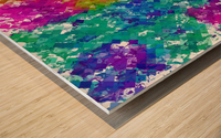 psychedelic geometric square pixel pattern abstract background in blue green yellow pink purple Wood print