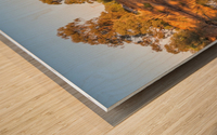 Tranquil river bank reflections at sunrise Wood print