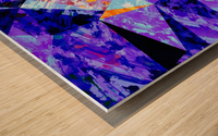 vintage psychedelic geometric triangle polygon pattern abstract in purple blue orange Wood print
