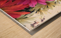 Rainbow of flowers Wood print
