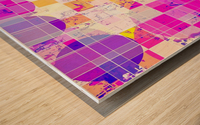 geometric square and circle pattern abstract in pink purple yellow Wood print