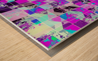 geometric square pattern abstract in purple blue Wood print