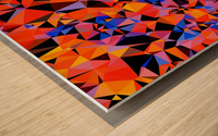 geometric triangle pattern abstract in blue orange red Wood print