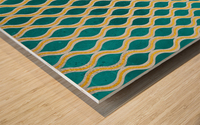 Gold - Turquoise pattern I Wood print