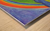 Mystical rock under the rainbow Wood print