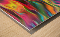Abstract Colorful Waves Wood print