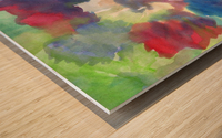 Watercolor abstraction with a blurred floral pattern Wood print