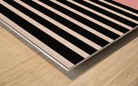 Black & White Stripes with Beauty Bush Patch Wood print