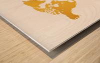 Golden World Map - White Background Wood print
