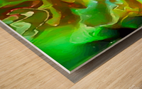 Emerald Field - green brown gold abstract swirls Wood print