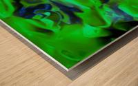 Gemphire - emerald green dark blue abstract swirls wall art Wood print