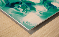Mint Chocolate Chip Ice Cream - turquoise white blue black swirls large abstract wall art Wood print