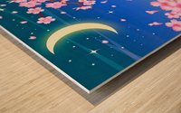 sakura cherry blossom night moon Wood print