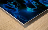 True Lightning - blue white black swirls abstract wall art Wood print