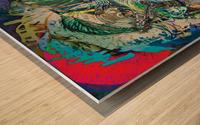mottled multicolored abstract composition Wood print
