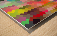 geometric square pixel pattern abstract in red blue green yellow Wood print