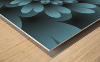 Blue Floral Satin Wallpaper Wood print
