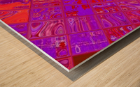 Red Psychedelic Squares 1 Wood print