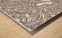 Wandering Abstract Line Art 05: Black & White Wood print