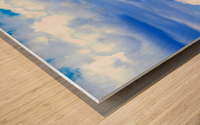 Blue Sky Clouds Field Bright Colorful Scenery Background  Wood print