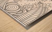 Wandering 10: black & white line art Wood print