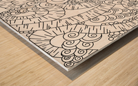 Wandering Abstract Line Art 13: Black & White Wood print