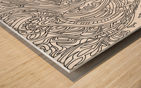 Wandering Abstract Line Art 14: Black & White Wood print