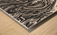 Wandering Abstract Line Art 14: Grayscale Wood print
