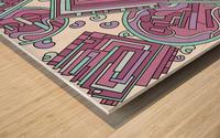 Wandering Abstract Line Art 15: Pink Wood print