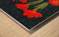 Red flowers shining in a magical starry night Wood print