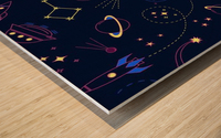 Cartoon space seamless pattern vectors Wood print