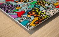 graffit characters seamless pattern Wood print