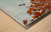 Tree branch with orange autumn leaves and blue cloudy sky Wood print