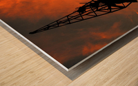 Sunset port tower cranes Wood print