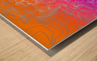geometric fractal line abstract background in purple orange Wood print