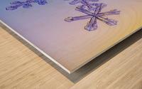 Photomicroscopic close up of two snowflake crystals, Alaska Wood print