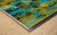 Paint Splattered Graffiti Green Blue Splash Wood print