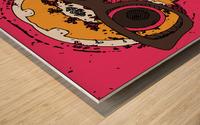funny skull and bone graffiti drawing in orange brown and pink Wood print