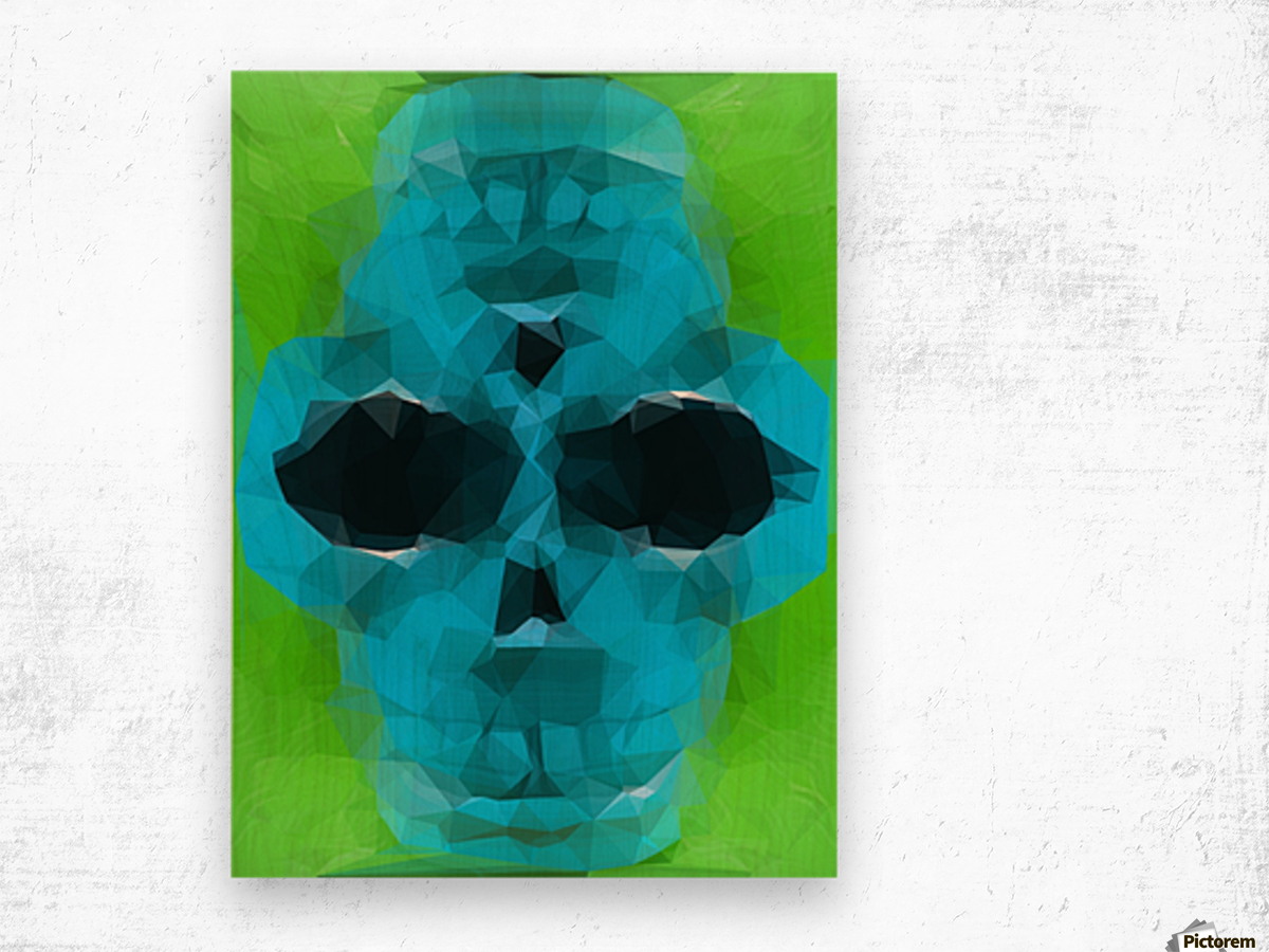 psychedelic skull art geometric triangle abstract pattern in blue and green Wood print