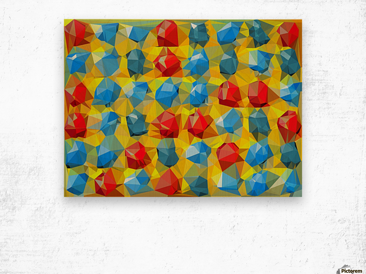 geometric polygon abstract pattern yellow blue red Wood print