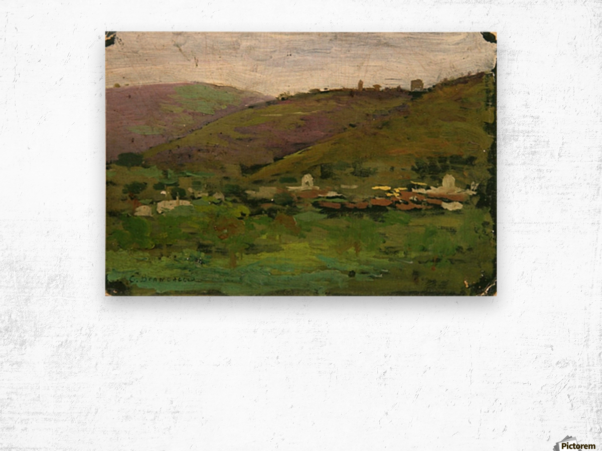 Landscape with houses on an Italian hill Wood print