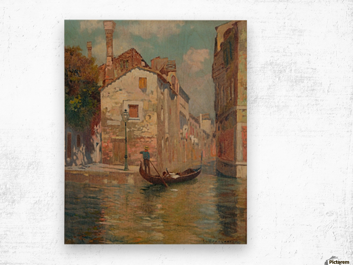 Gondola traveling along a canal in Venice Wood print