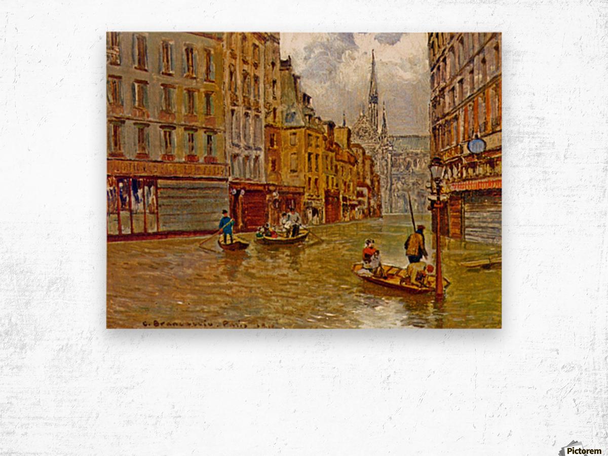 Street in Paris during Flood of 1910 Wood print