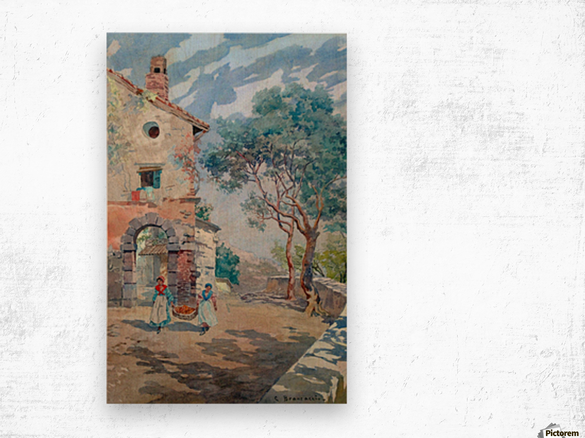 Two girls carrying fruits to their house Wood print