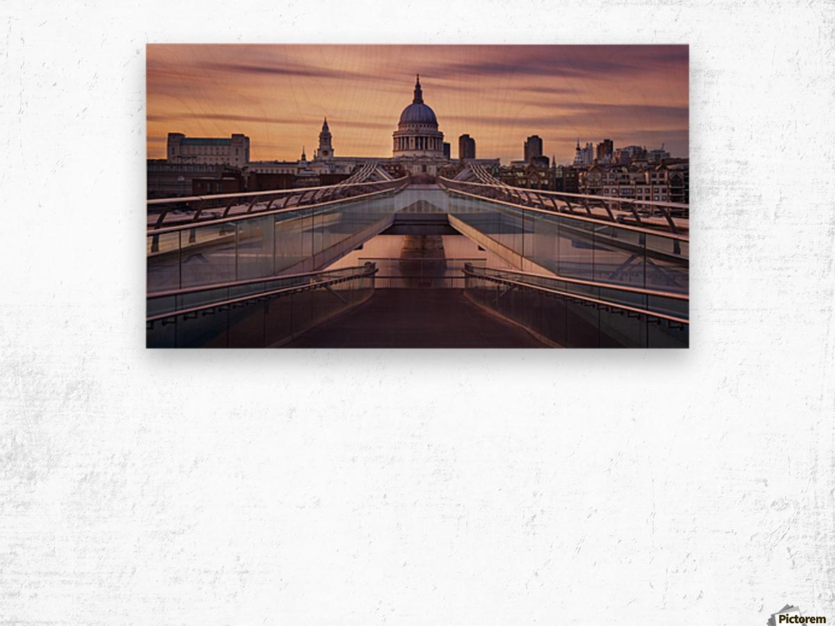 Millennium bridge leading towards St. Paul's church Wood print